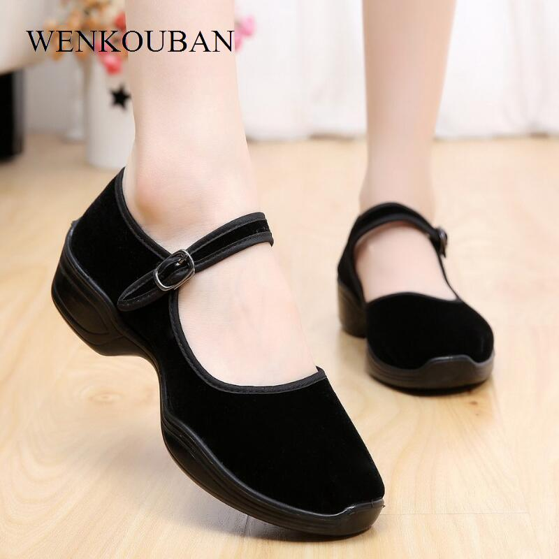 Fashion Sneakers Women Casual Shoes Summer Canvas Mary Jane Shoes Dancing Wedges Ballet Soft Flats Black Sapato Feminino