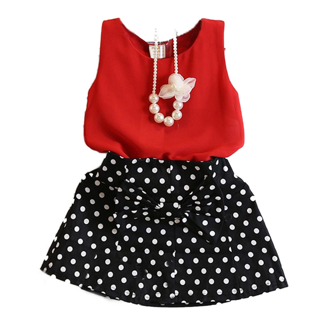 Pretty Toddler Kids Girls Fashion Sets Chiffon Wine-red Vest Tops With Polka Dot Skirt Summer Outfits Clothes new fashion toddler kids baby girls clothes vest t shirts tulle tutu skirts princess 2pcs sets summer cute outfits