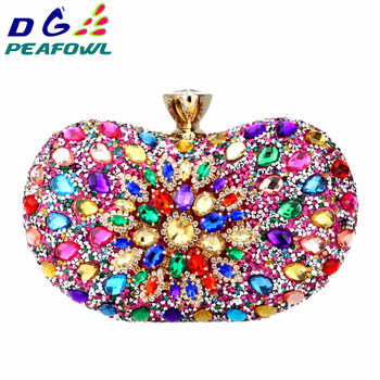 DG PEAFOWL Two Side Luxury crystal Floral Clutch chain bag evening woman diamond wedding Shoulder wallet purse Handbags 5 colors - DISCOUNT ITEM  50% OFF All Category
