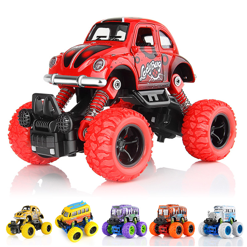 1 Piece Monster Truck Inertia Kids Toy Vehicles Baby Boys Super Cars Pull Back Blaze Truck Children Gift Toys Bus Open The Door children inertia toy car simulator ladder truck firetruck