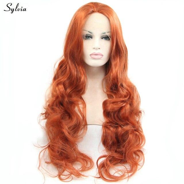 Us 41 99 Sylvia 350 Dark Orange Kupfer Rot Farbe Hochtemperatur Lange Haare Naturliche Welle Synthetische Spitzefrontseitenperucken Fur Frauen