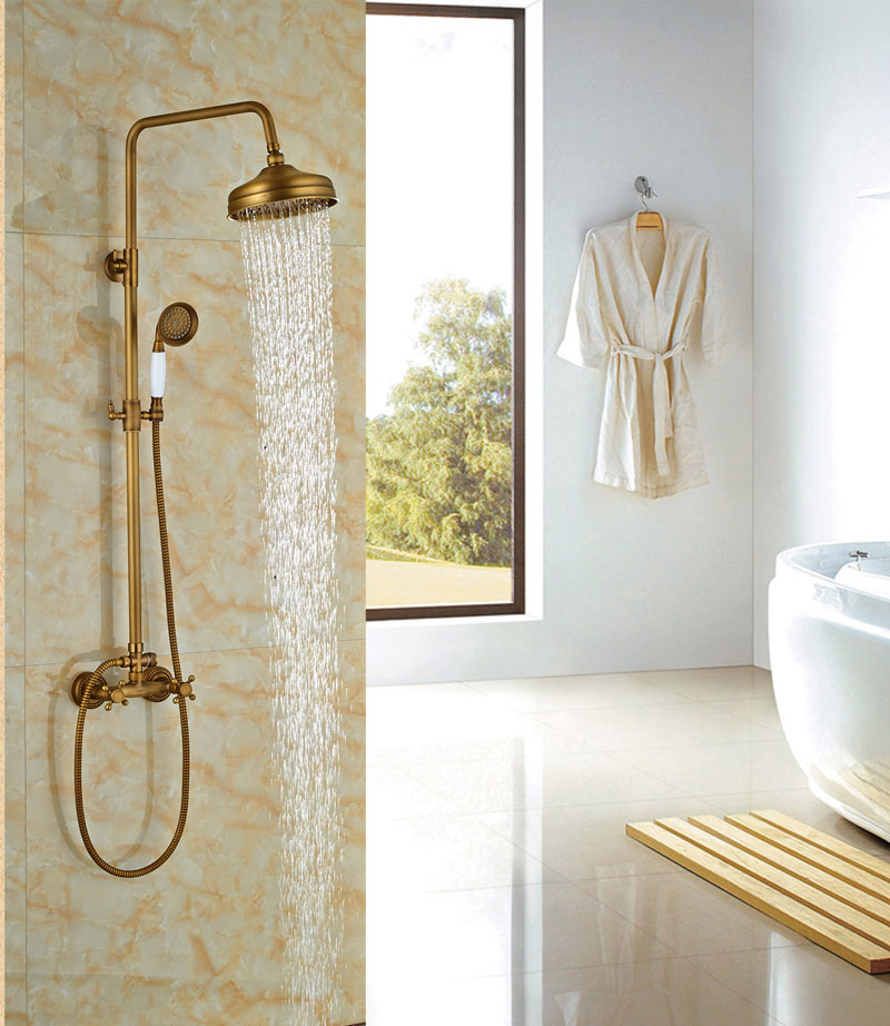 Antique Brass Bathroom Shower Sets Cramic Handle Shower Double Handles Hot Cold Faucet In Bath