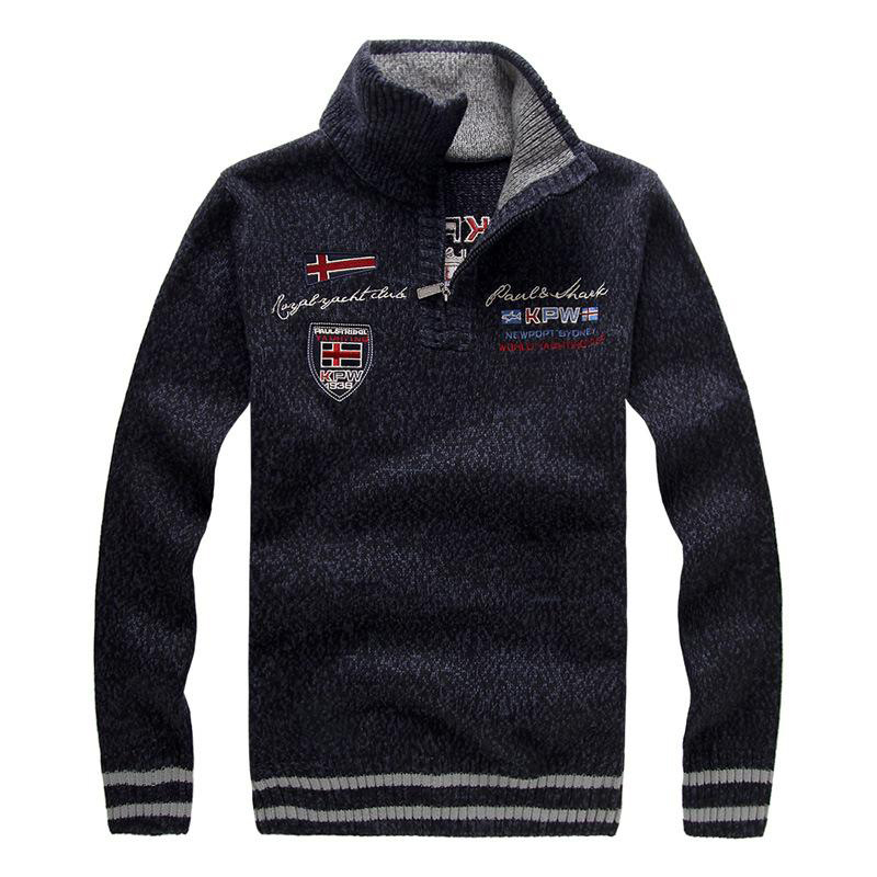 New men's Sweater Winter Fashion Embroidery Thicken Stand Collar Wool Sweater Coat For Men Pullovers 3 Colors AFA15
