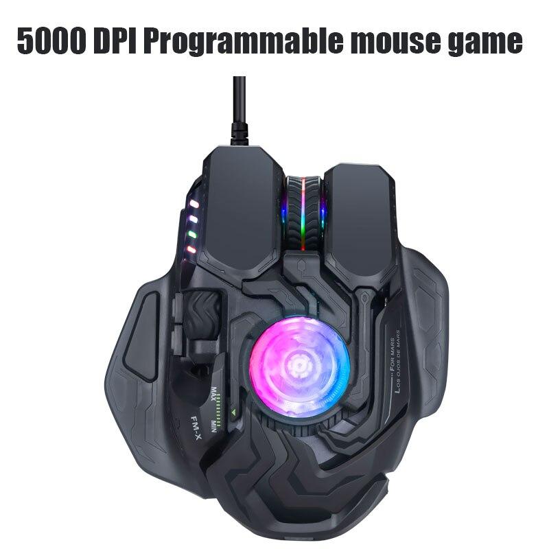 Nouveau USB2.0 5000 DPI filaire e-sports jeu Programmable ergonomie réglage souris DPI réglable pour PC CF LOL manger poulet - 2