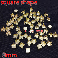Big Promotions For 5000pcs/lot 8x8mm Square Metal Claw Setting Gold Closed Back For Sewing On Square Shape All Material Stone