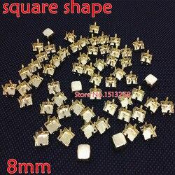 Grandes promociones para 5000 unids/lote 8x8mm garra cuadrada de Metal ajuste dorado cerrado para coser en forma cuadrada todo Material piedra