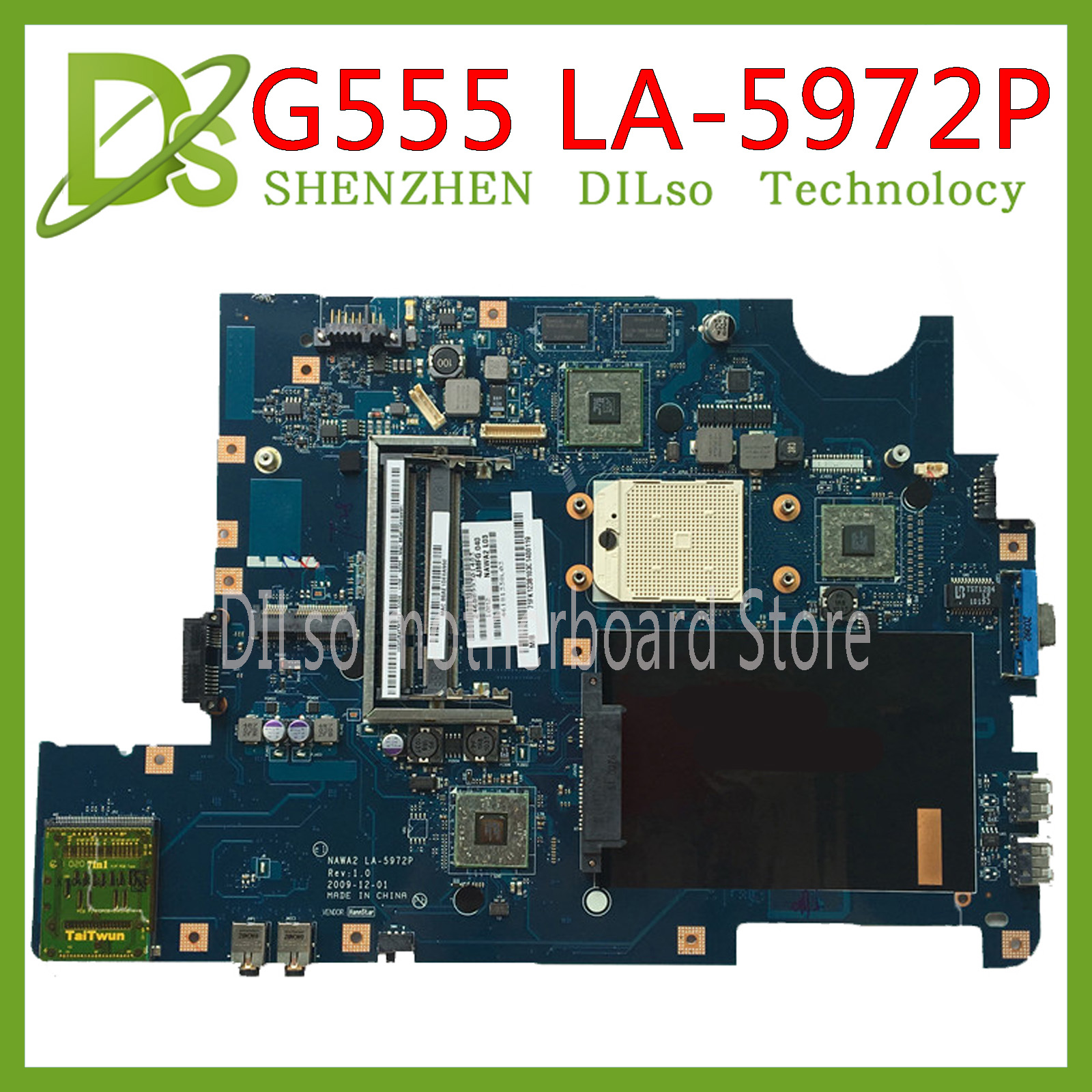 KEFU NAWA2 LA-5972P for lenovo G555 notebook G555 laptop motherboard NAWA2 LA-5972P mainboard with GPU Test original mothebroard