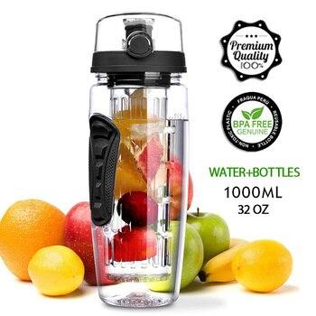 1L Portable water bottle Tritan Drinkware Bottle Fruit Infuser Bottle Juice Shaker travel Sport Water Bottle detox bottle 1