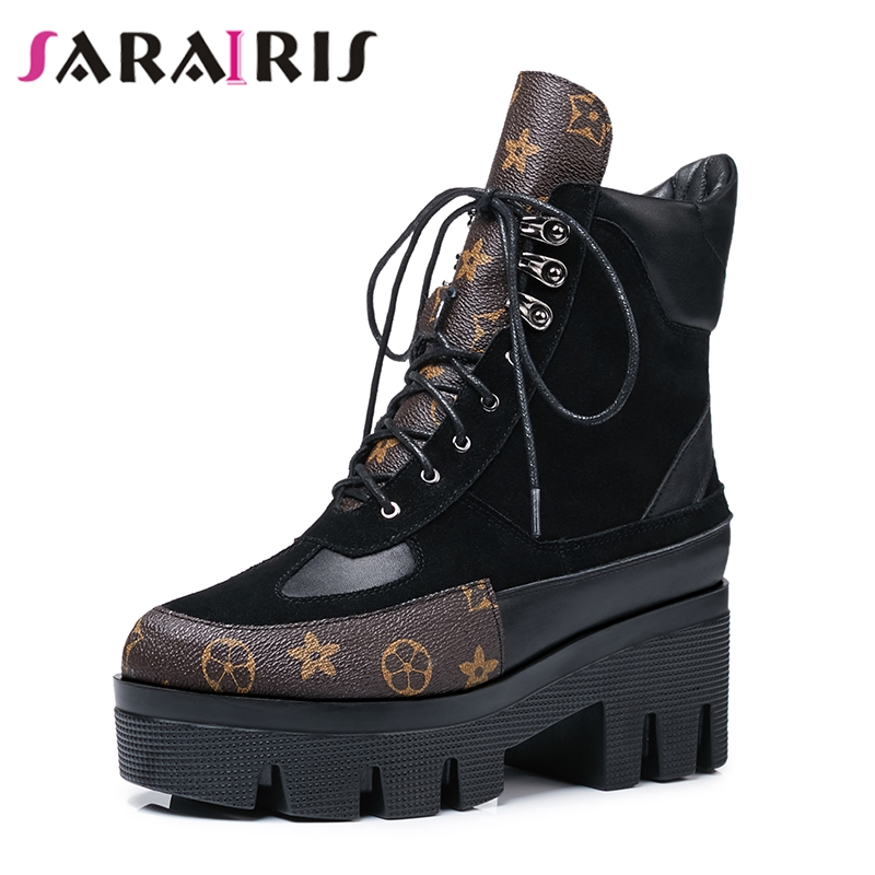 SARAIRIS Brand Design Cow Suede Genuine Leather Big Size 42 Martin Boots Woman Leisure Fashion Runway Show Women Shoes Boots