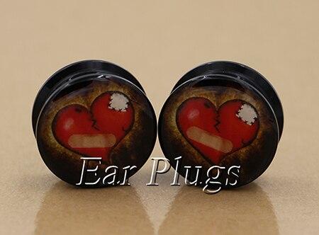 1 pair heart broken ear plug gauges tunnel acrylic screw flesh tunnel body piercing jewelry PAP0235