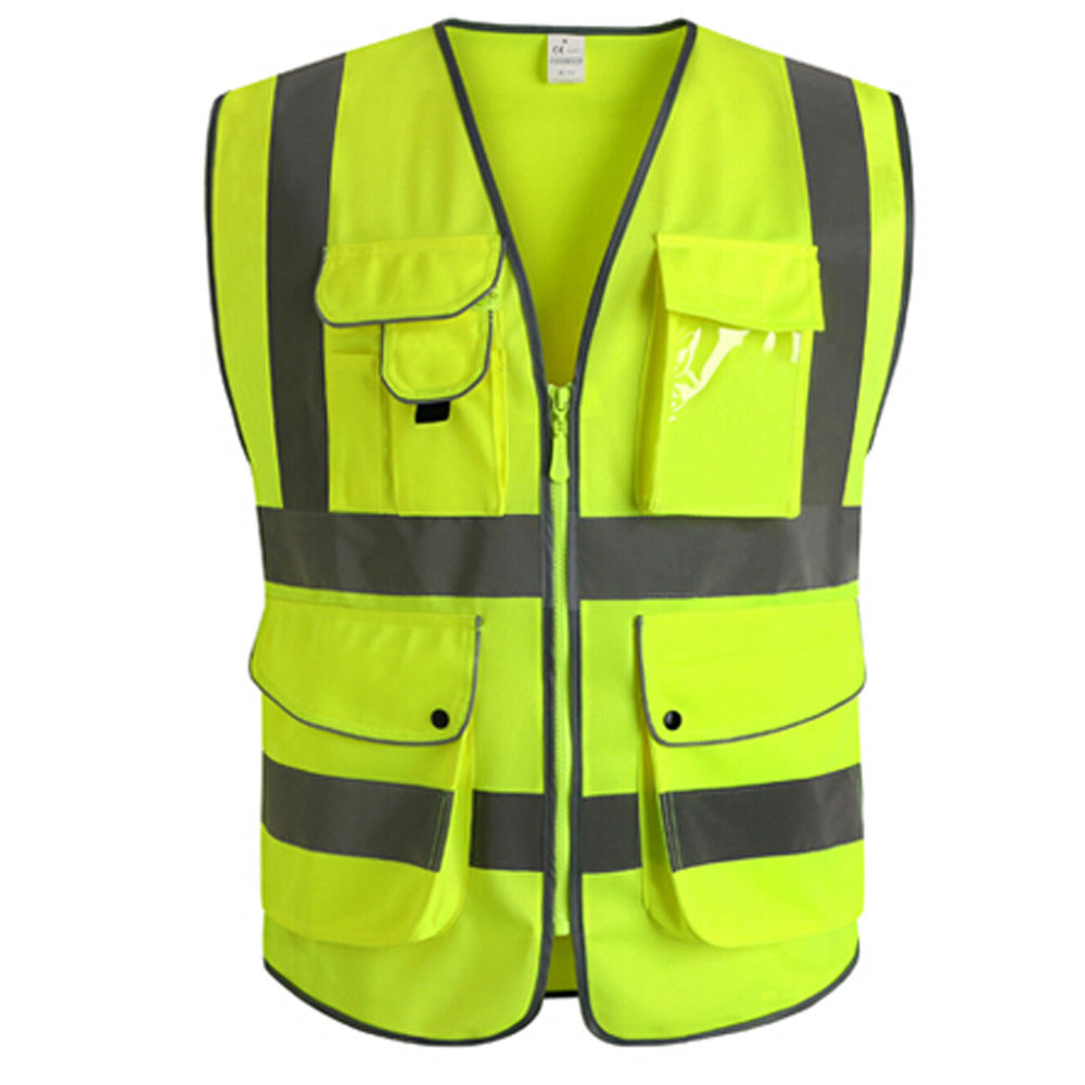 High Visibility Reflective Tape Safety Vest Unisex Reflective Jacket Safety Clothing with Pockets for Construction Road Safety high vis fleece visibility safety jumper