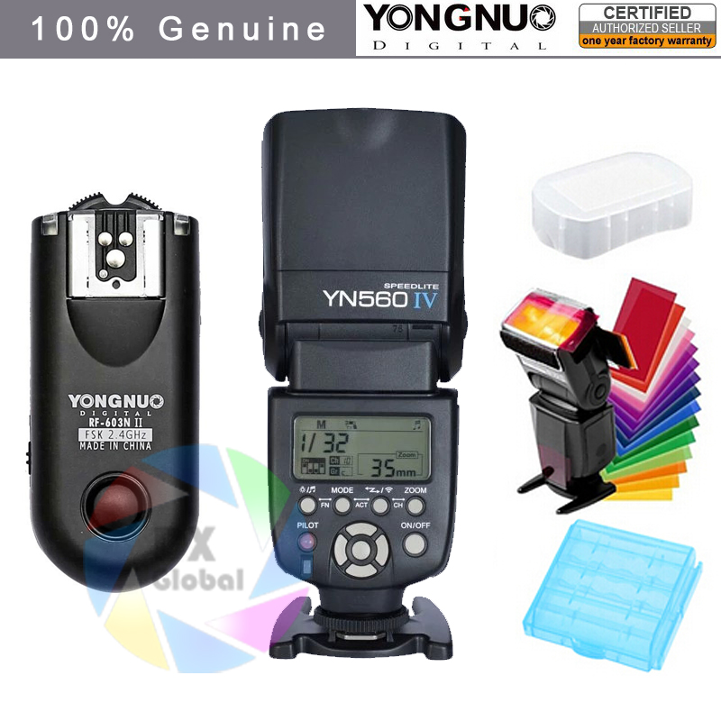 Yongnuo YN560IV YN560 IV YN 560 Flash Speedlite for Canon Nikon Olympus Pentax With YongNuo RF603 II უკაბელო Flash Trigger
