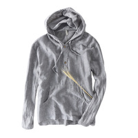 WMSHUO 2018 Summer 100 Linen Hooded Long Sleeve T Shirts Men Casual Loose Solid White T
