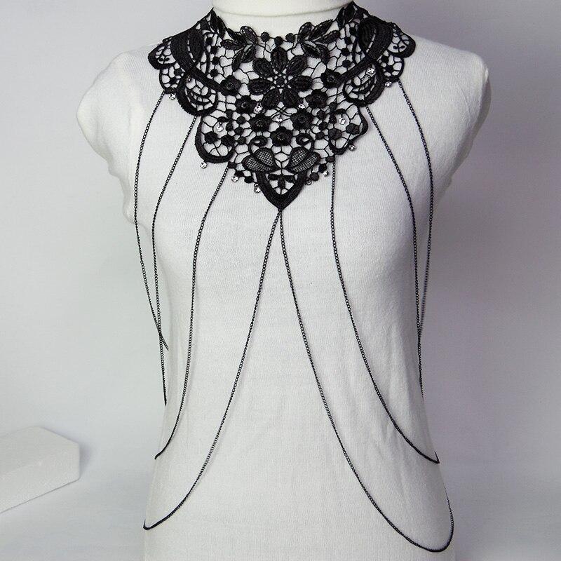 Gothic Chain necklace Women Big Fashion Necklace Black Lace Flower Necklaces& Pendants Maxi Colar