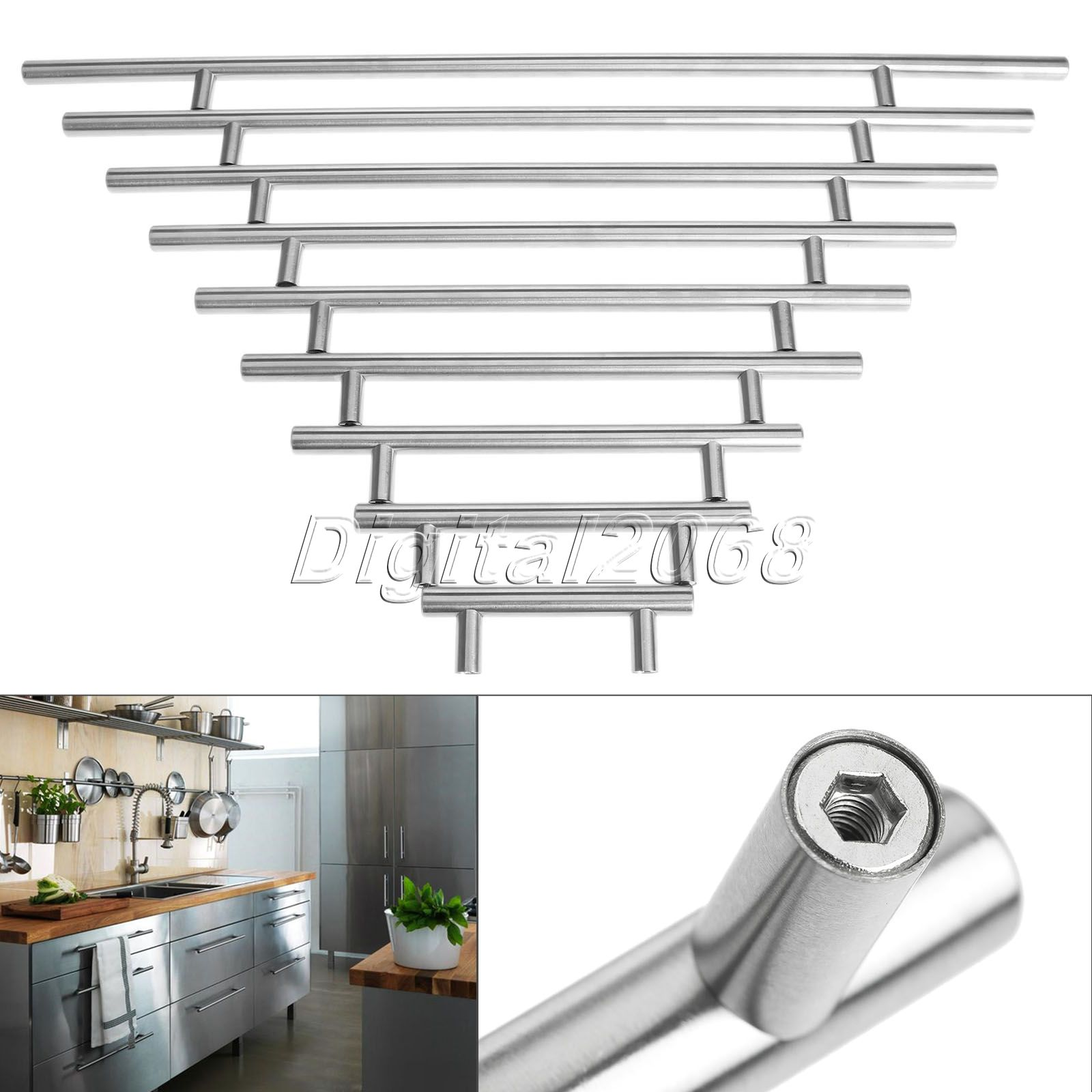 Hot 12mm furniture hardware stainless steel t bar kitchen for Stainless kitchen cabinet doors