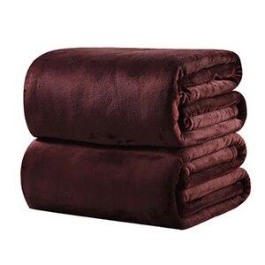 Image 4 - CAMMITEVER 10 Colros Super chaud doux Textile à la maison couverture couleur unie flanelle couvertures jeter des couvre lits draps