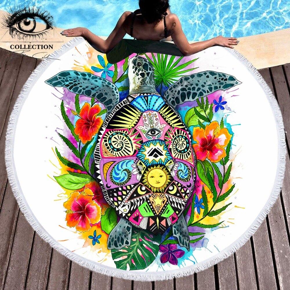 Tortuga vida Pixie fría arte Toalla de playa redonda grande tortuga manta de microfibra con borla verano Toalla Bohemia Picnic Mat