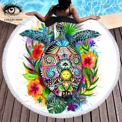Turtle Life by Pixie Cold Art Large Round Beach Towel Tortoise Microfiber Blanket With Tassel Summer Toalla Bohemian Picnic Mat