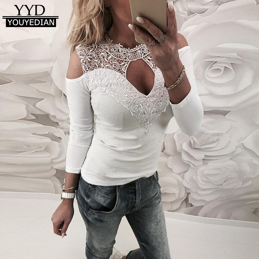 New Sexy Lace Crochet T Shirt Women Long Sleeve Cold Shoulder Choker V Neck Tops Hollow out T Shirt Female Camiseta Mujer *1223