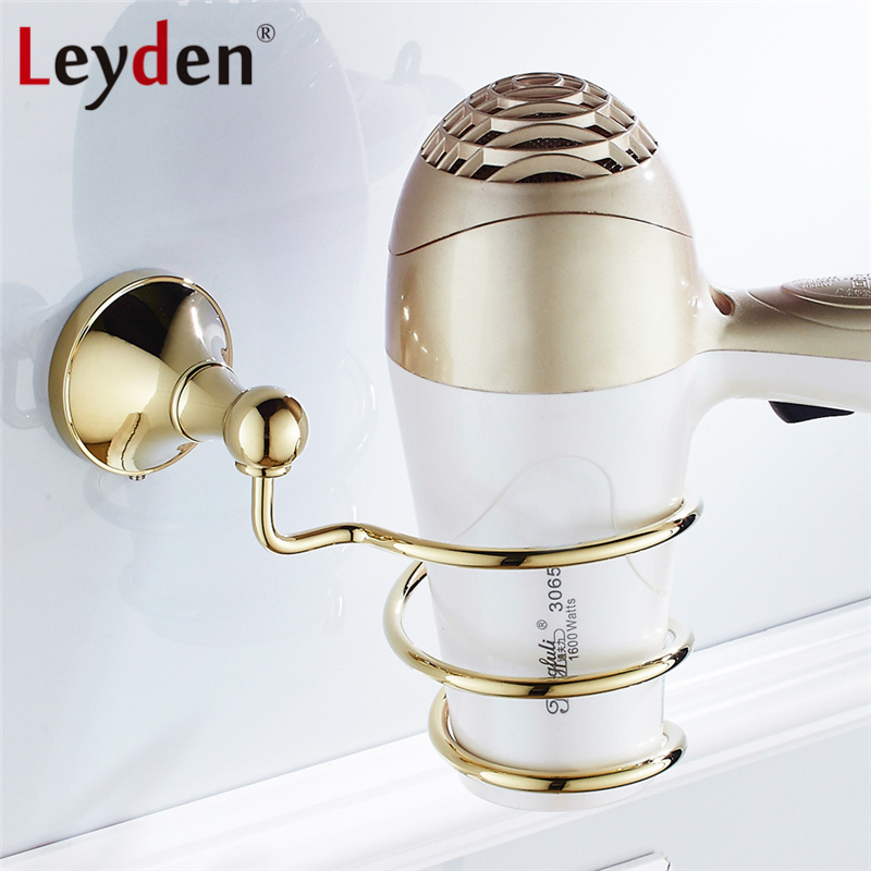 Leyden Luxury Hair Dryer Holder ORB/Gold/Polished Chrome Wall Mounted Solid Brass Hairdryer Support Holder Bathroom Accessories gold finish brass bathroom hair dryer holder wall mounted