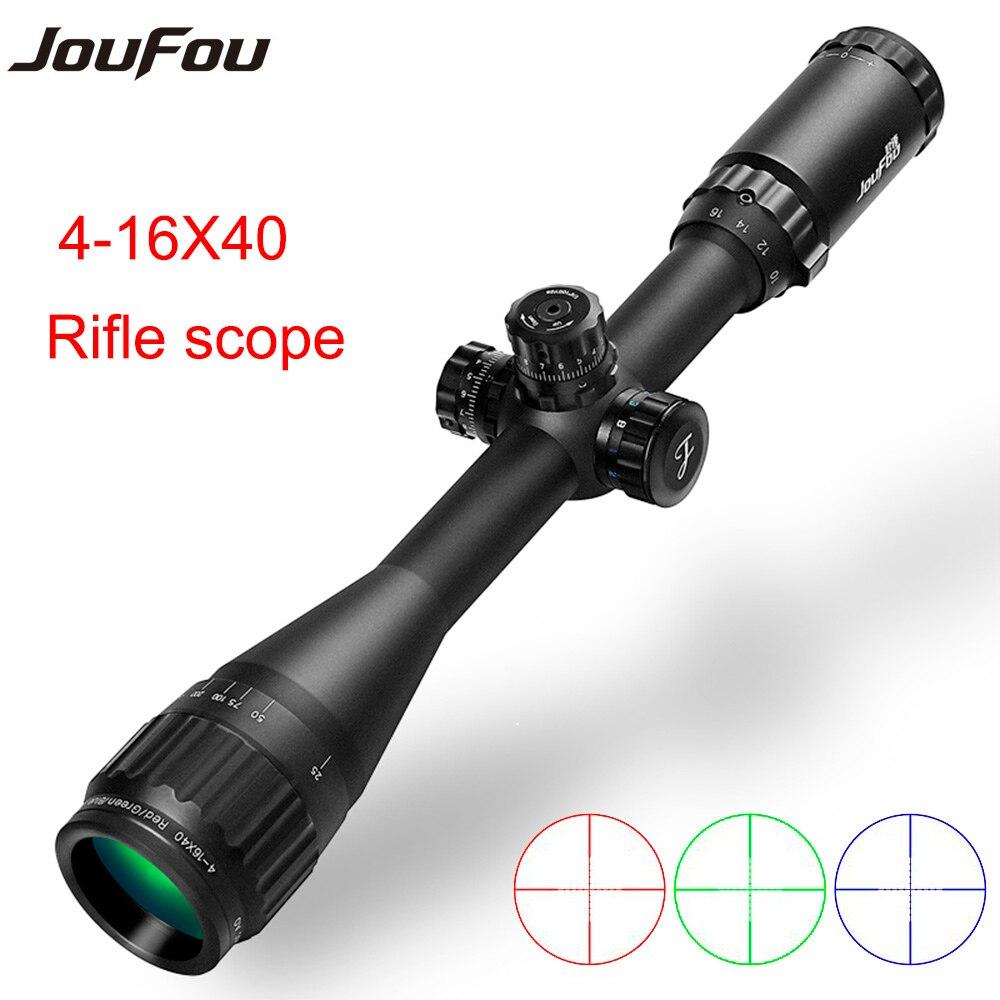 ФОТО JouFou 4-16X40 AOL Hunting Riflescope Green / Red / Blue Illumination Tactical Rifle Scope Fully Multi-coated Optics Sight