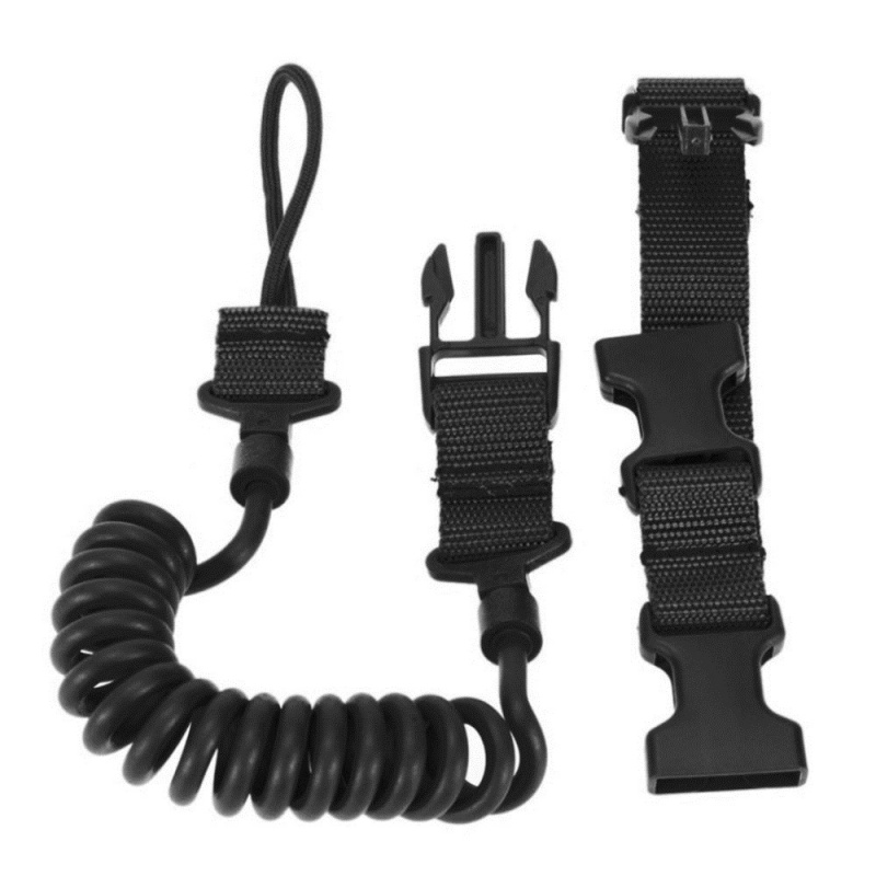 Multi-function Climbing Tactical Lanyard Gun Rope Safety Rope Anti-lost Outdoor Army Fan Spring Wear-resistant Elastic Keychain