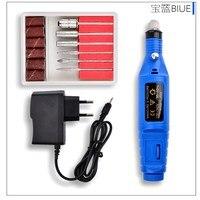 1 adet Mini Paslanmaz Çelik Nail Art Matkap Set Elektrikli Manikür Tırnak Kalem Manikür Pedikür Makinesi Nail Öğütücü Polisaj 2 renkler