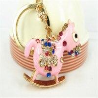 YS259 New Love Rocking Horse Keyring Cute Crystal Charm Pendant KeyChain Cute Gift