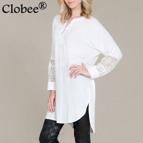 Vente chaude Bureau Vintage Coréen chemise Longue style Femmes chemisier  Couture lacets Hauts en vrac Grande 39f4003bacc7