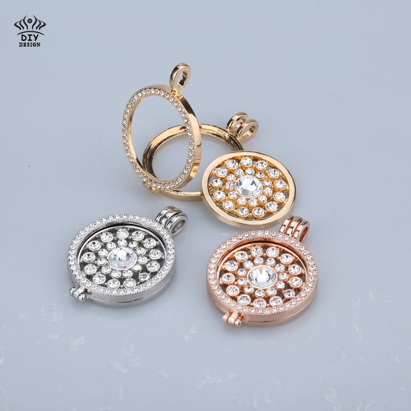 new 35mm coin holder necklace pendant fit my 33mm coins crystal fashion necklace pendants jewelry design 80cm chain christmas gi