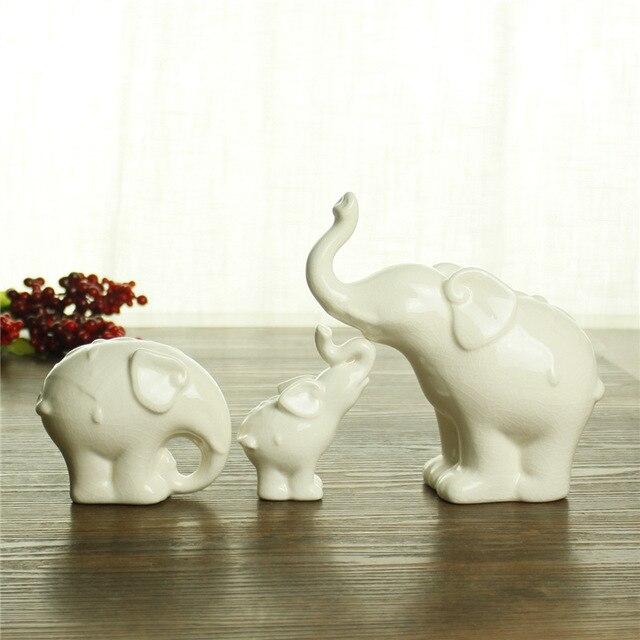 3pc Set Ceramic Crafts White Elephant Animal Model Desktop Decoration Home Decor Ornaments Birthday Gift