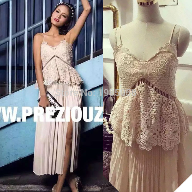 df47763d2e53 New 2016 Spring Sexy Self Potrait Natalia Tiered Nude Pink Lace Crochet  Chiffon Pleated Boho Dress Vestidos-in Dresses from Women's Clothing on ...