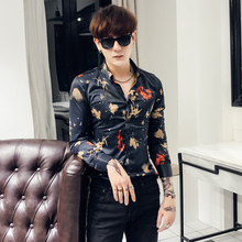 0d398c6a3239 loldeal loldealSocial Party Baroque Stretch Male Swallow Print Club Outfit  Black Gold