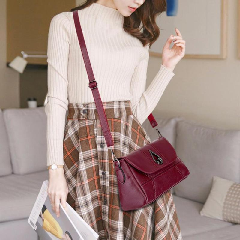 Crossbody-Bags Handbags Ladies Totes Flap Messenger Vintage Casual Pure-Color Women