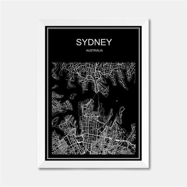 Sydney Australien World City Karte Moderne Plakat Druck Papier Retro  Abstrakte Bar Cafe Home Wohnzimmer