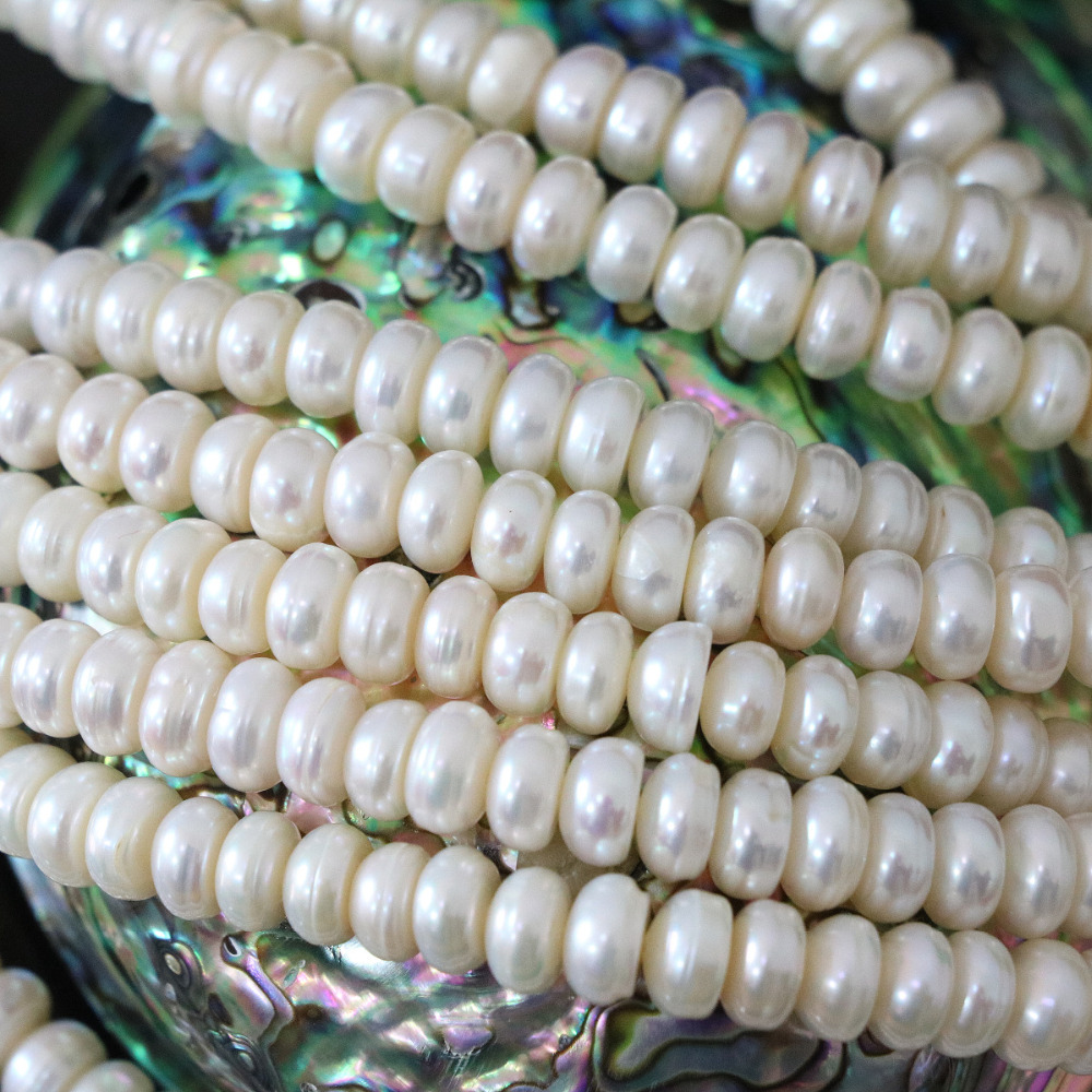 Charms 6*8mm natural white cultured freshwater pearl beads abacus fashion diy loose jewelry making 15inch B1347