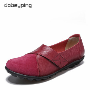Image 3 - dobeyping New Spring Autumn Shoes Woman Genuine Leather Women Flats Slip On Womens Loafers Female Sewing Shoe Large Size 35 44