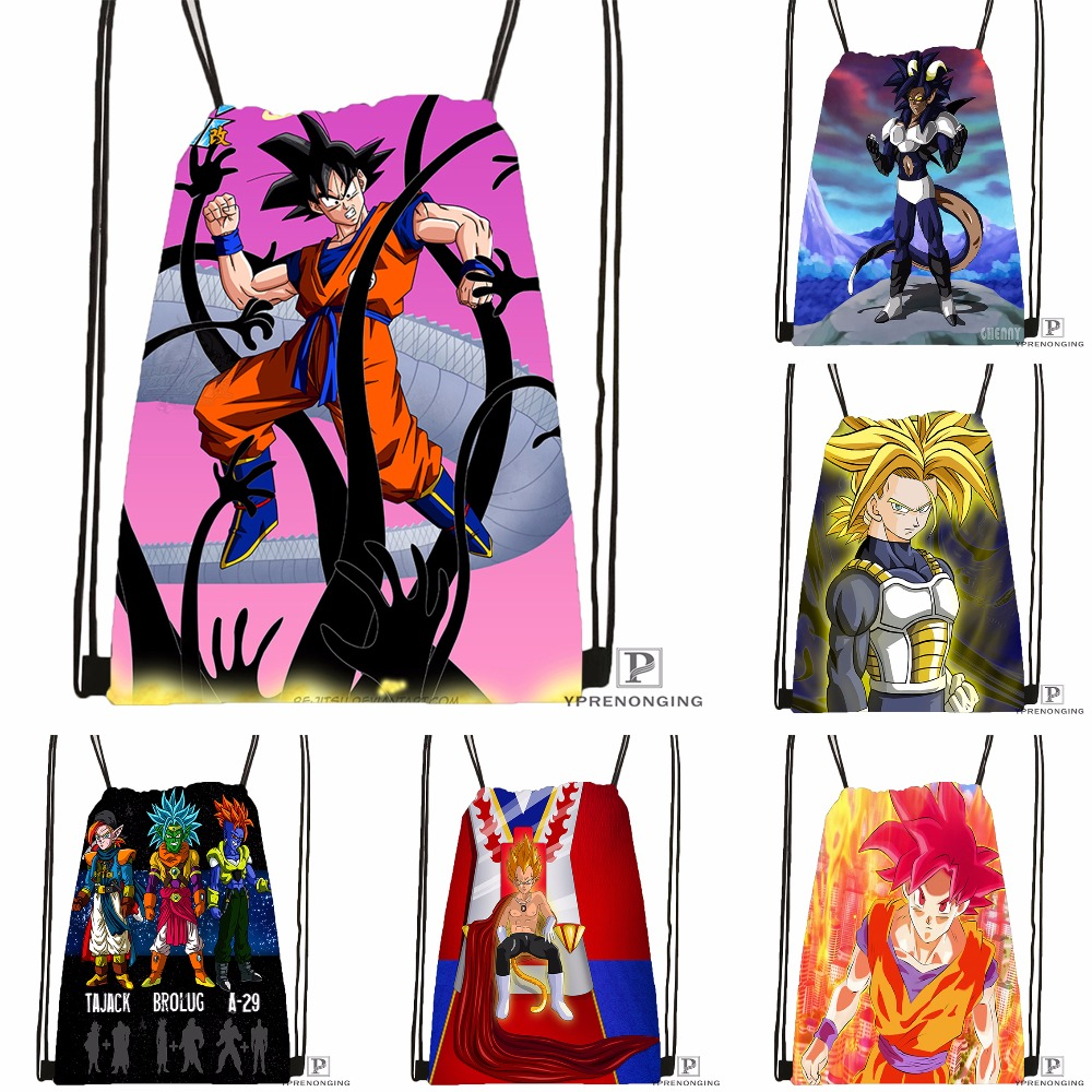 Custom Dragon Ball Kai Goku Drawstring Backpack Bag Cute Daypack Kids Satchel (Black Back) 31x40cm#180531-03-33
