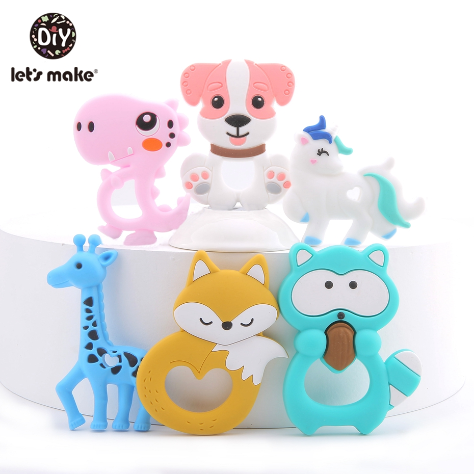 Let'S Make 1Pc Silicone Teether Animal Making Baby Rattles Charms For Stroller Accessories Silicone Baby Teether Toy Bpa Free