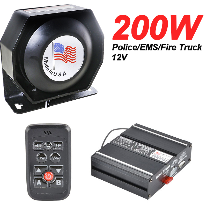12V 200W 8 Sound Loud Car Warning Alarm Police Siren Horn Speaker with MIC System and Wireless Remote Control12V 200W 8 Sound Loud Car Warning Alarm Police Siren Horn Speaker with MIC System and Wireless Remote Control