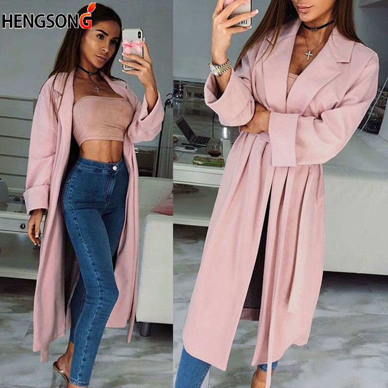 Spring Autumn Fashion Women Windbreaker Casual Pink Trench Coat Long Outerwear Loose Clothes For Lady With Belt