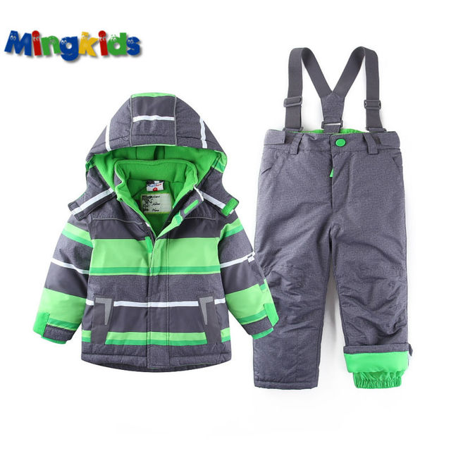Russian mingkids Snowsuit toddler Boy Ski set Outdoor Winter Warm Snow Suit waterproof windproof padded European Size