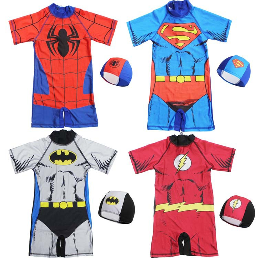 Kids One Piece Swimsuit Boys Swimwear Super Hero Bodysuit With Swimming Cap Children Bikini 2019 Beachwear Swim Wear With Cap