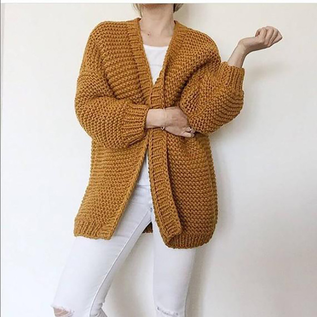 60182a0ac68 US $56.1 34% OFF|Hand knitted Cardigan sweater 2019 Spring Women's handmade  Long style Sweater Oversized 5XL code chunky Long Cardigan women-in ...