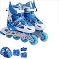 Регулируемые роликовые коньки для детей  детская обувь для катания на роликах  8 шт.  мигающие светящиеся колеса  Бесплатная защита для катан...