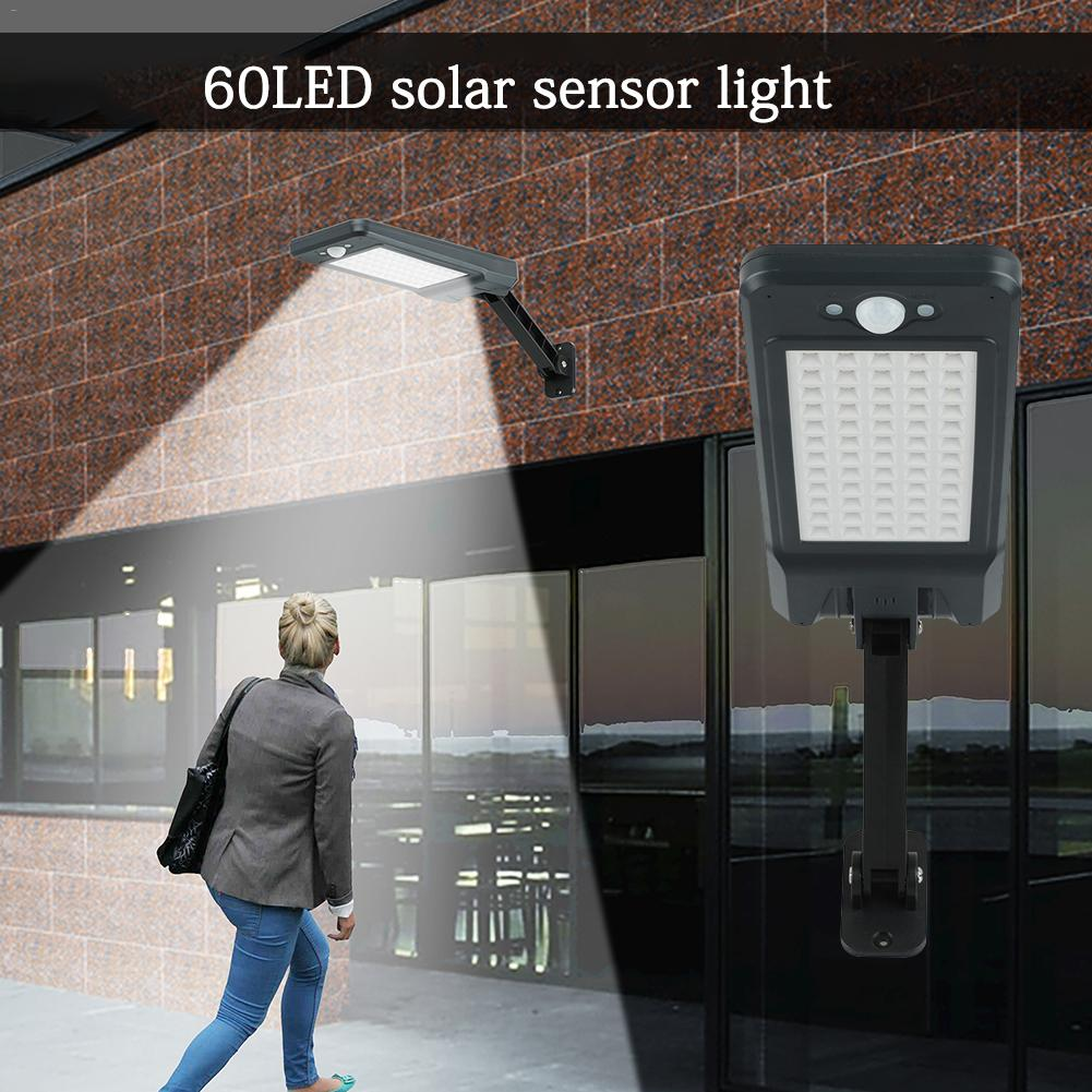 60 LED Beads Solar Light Remote Control Dimmable Wall Street Lamp Body Motion Sensor Waterproof Outdoor Garden Lamp