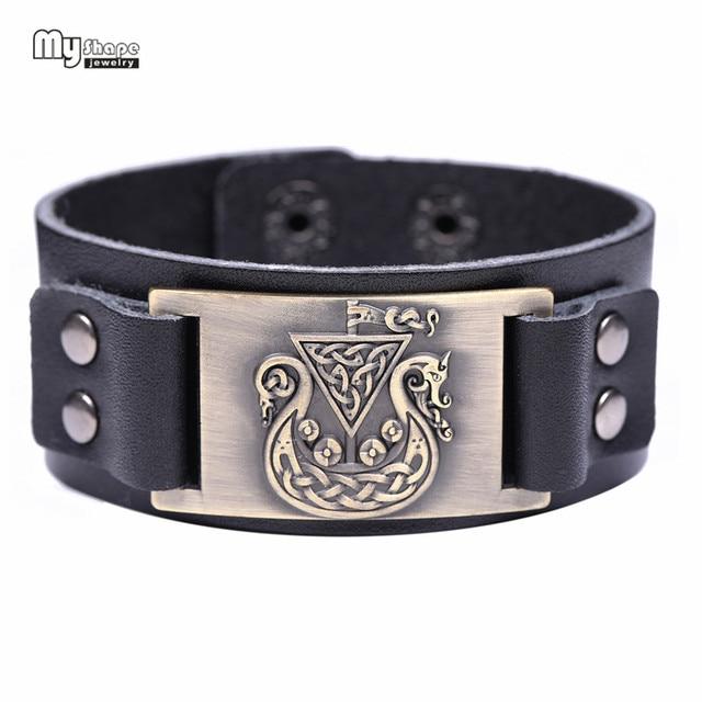 067436ed7b2c Mi forma irlandés nudo símbolo pulseras Viking brazaletes dragón amuleto  hecho a mano pulsera de cuero