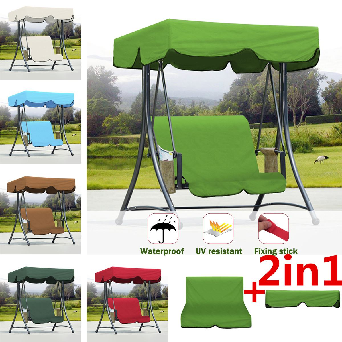 2 uds. Toldo de hamaca oscilante resistente a los rayos UV resistente al agua + cojín de silla para verano exterior jardín interior patio tienda cubierta superior oscilante