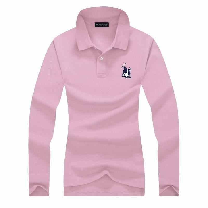 ファッション 2019 新しい女性の長袖ポロシャツシャツ馬刺繍カジュアルレディースカジュアルラペル tシャツ綿トップス s-XXL