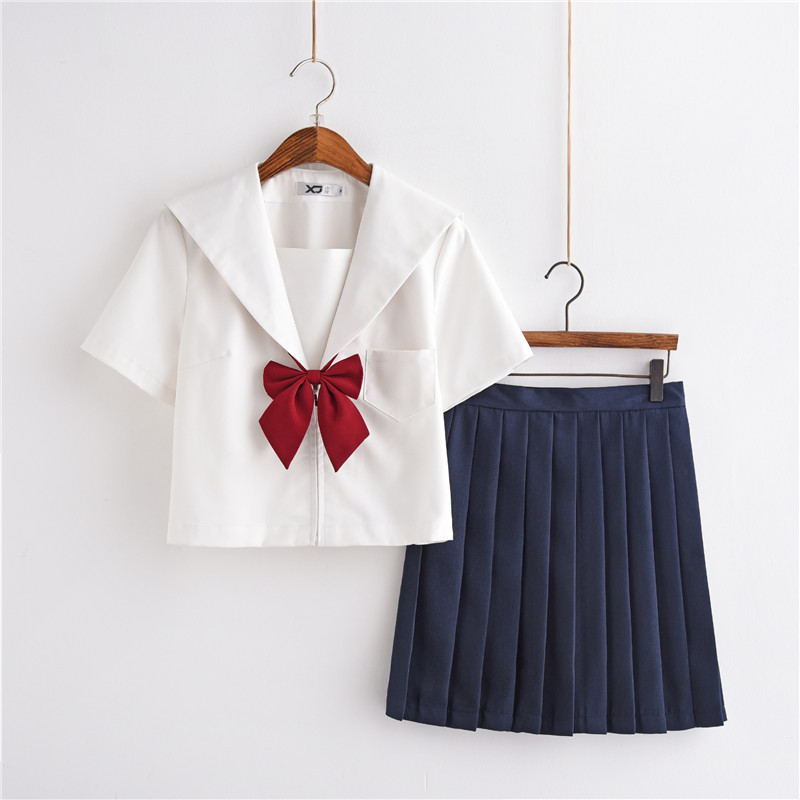 Anime School Uniform Cosplay Sailor Suit School Uniform Sets JK School Uniforms For Girls White Shirt And Dark Blue Skirt Suits